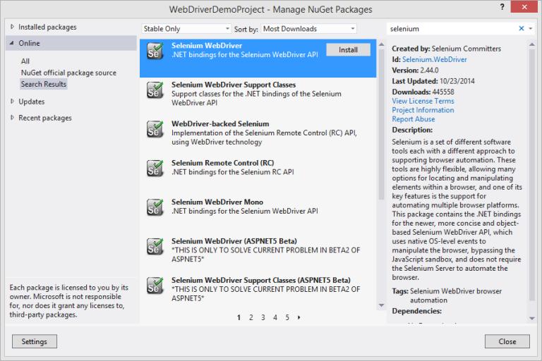 Selenium WebDriver Nuget Package